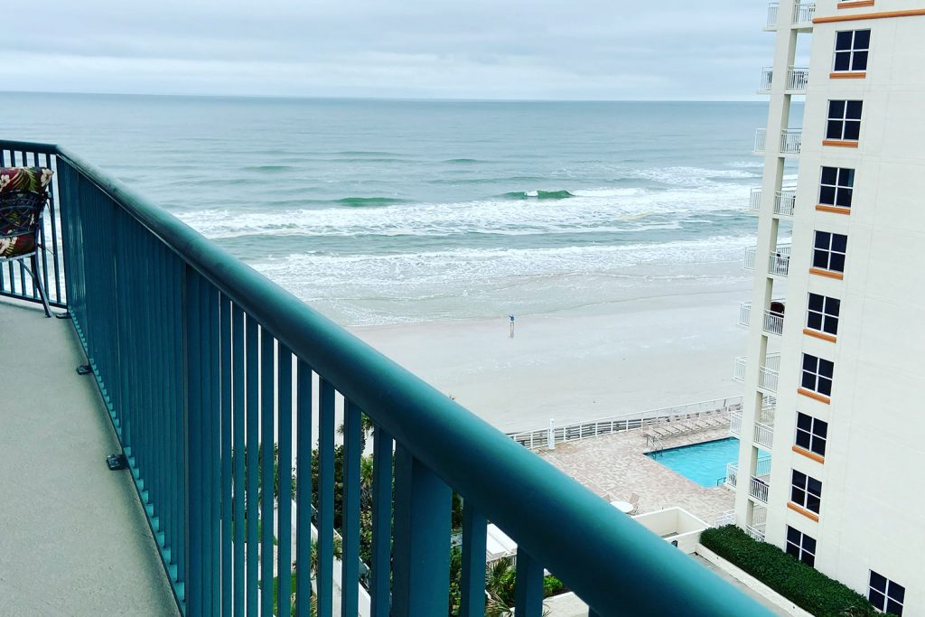balcony view of ocean from Daytona Beach Shores studio